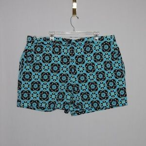 Crown & Ivy Geometric Print Blue Shorts Sz 20